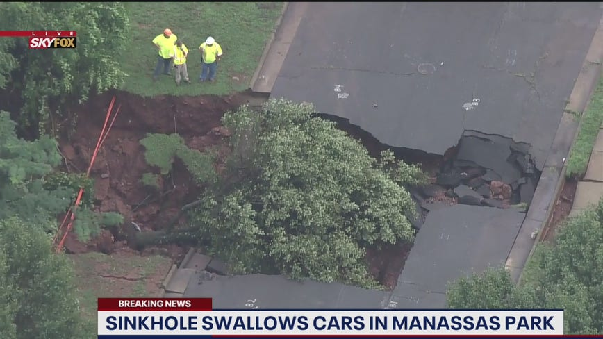 Crews restore access to Manassas Park neighborhood isolated by sinkhole amid storm