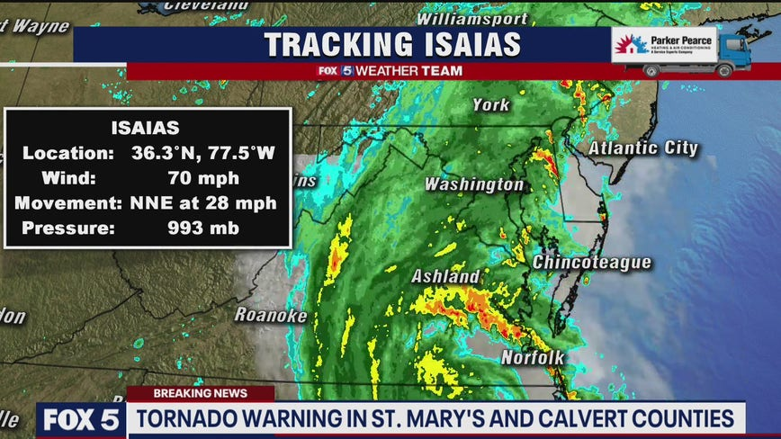 Isaias brings heavy rain, triggers tornado and flood warnings; NWS confirms tornado on ground near Leonardtown
