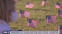 Memorial flags for 200,000 COVID-19 deaths