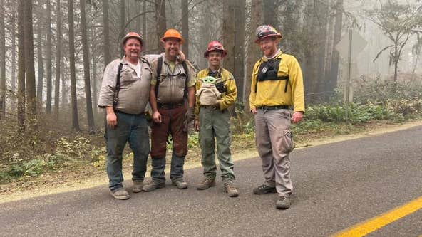 Boy gives Baby Yoda to firefighters, the doll now serves as moral support on fire lines