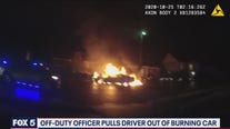 Off-duty officer pulls driver out of burning car