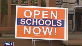 Dozens of 'Open Schools Now' signs stolen, trashed in Arlington