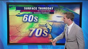 Sunshine continues Thursday with highs near 70 degrees