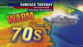 Warm and dry Tuesday with temperatures in the 70s