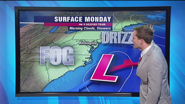 Monday morning fog, drizzle and showers; mild, dry afternoon