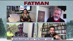 Mel Gibson and stars of the film, Fatman
