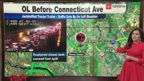 Jackknifed tractor trailer causes delays along outer loop