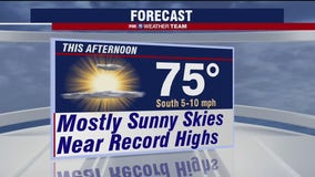 Sunny and warm Tuesday with highs in the mid-70s