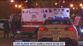 Car strikes ambulance overnight In DC sending 2 to hospital