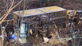 1 dead; box truck sent down embankment after crash in Montgomery County