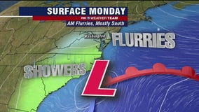 Morning snow flurries Monday; cold and chilly temperatures in the 40s