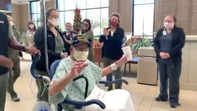 WWII veteran discharged after beating COVID-19, just in time for 104th birthday