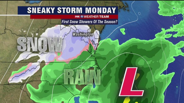 Sneaky storm could bring first snowflakes of the season to DC region Monday morning