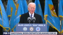 Emotional Biden departs Delaware for DC