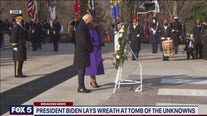 President Biden, Vice President Harris lay wreath at Tomb of the Unknown Soldier at Arlington National Cemetery