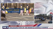 The University of Delaware marching band performs in the inaugural parade