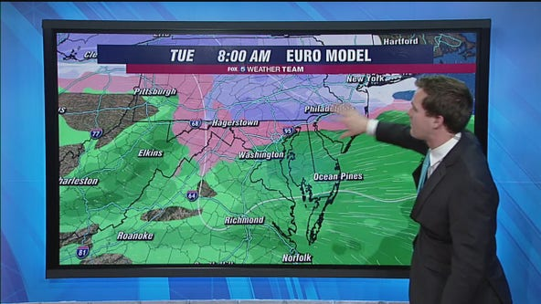 Lingering cold key to Monday's winter weather threat