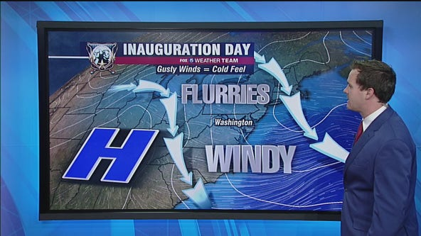 Cold, windy inauguration day Wednesday with snow flurries and highs in the 40s