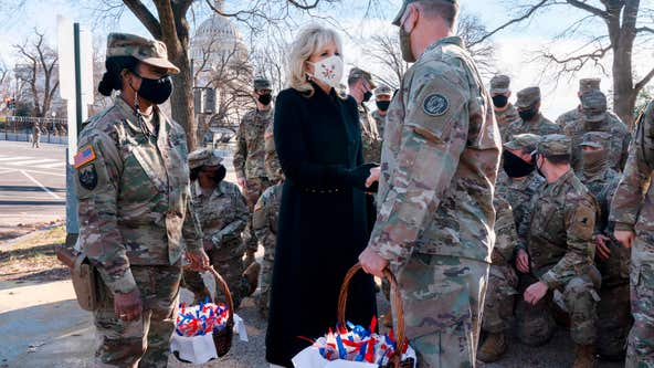 First lady Jill Biden thanks National Guard members with chocolate chip cookies