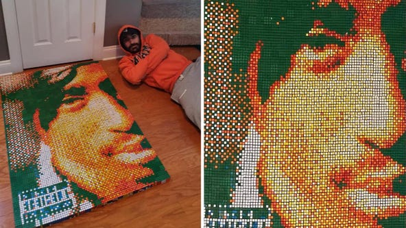 Tupac portrait made from 1,200 mini-Rubik's cubes