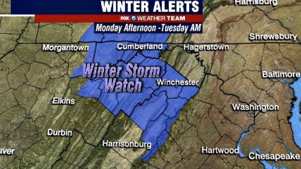 Winter Storm Watch in effect Monday for areas west of DC