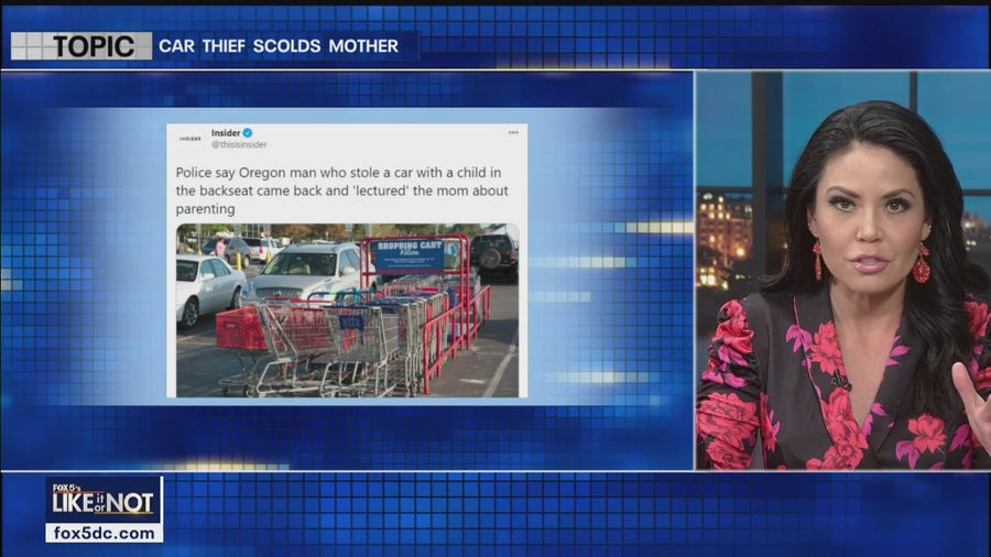 Thief scolds mom before stealing car