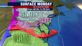 Fast moving system crosses DC region Monday bringing snow, sleet