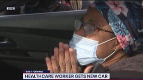 COVID-19 frontline worker bursts into tears receiving gift of first-ever brand new car