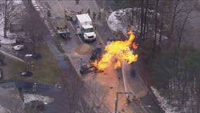 Fairfax County police: 3 people injured in vehicle fire after gas leak in Springfield