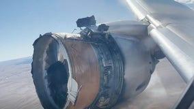 Passenger jet's engine fails, catches fire, drops debris below
