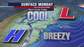 Sunny, cool and breezy Monday with highs near 60 degrees