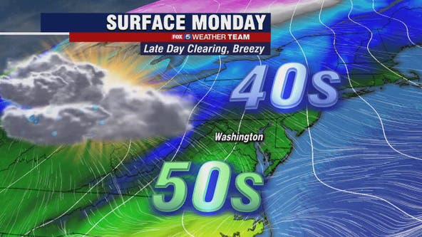 Monday morning showers with late day clearing; warmer temperatures midweek