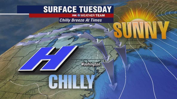 Sunny, chilly Tuesday with highs in the 40s