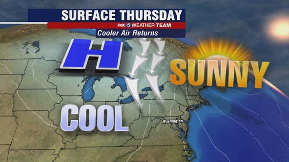 Cool Thursday with highs near 50 degrees; chilly and dry weekend