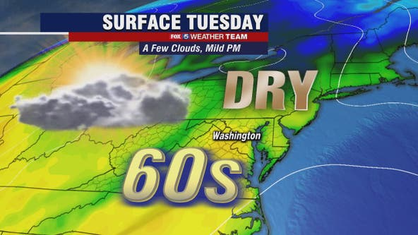 Sunny, mild and dry Tuesday with highs in the 60s