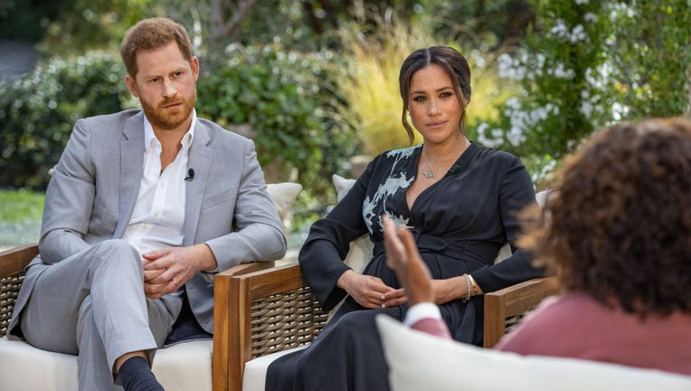 In this handout image provided by Harpo Productions, Oprah Winfrey interviews Prince Harry and Meghan Markle on A CBS Primetime Special premiering on CBS on March 7, 2021. (Photo by Harpo Productions/Joe Pugliese via Getty Images)