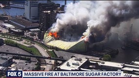 No one injured in massive Baltimore sugar plant fire