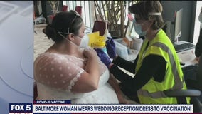 Maryland woman wears wedding gown to COVID-19 vaccination