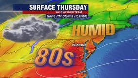 Warm, humid Thursday with highs in the 80s; threat for showers, thunderstorms