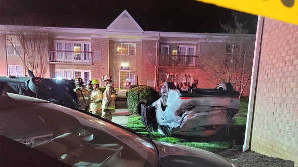 Car flips on roof after crash in Prince William County