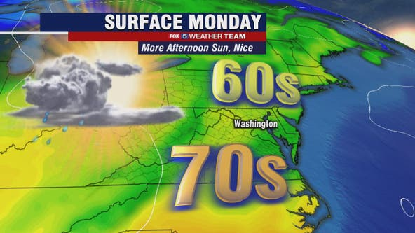 Morning showers possible Monday; clear afternoon skies with highs near 70