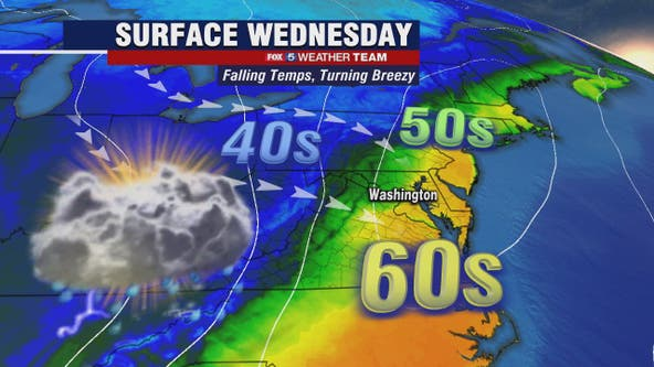 Showers, isolated thunderstorms possible Wednesday with highs in the 60s