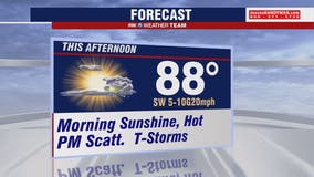 Hot, humid Tuesday with highs in the upper-80s; isolated afternoon thunderstorms possible