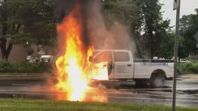 Pickup truck goes up in flames after live power lines fall on vehicle in Montgomery County