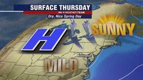 Sunny Thursday with mild temperatures near 70 degrees