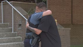 Emotional reunion between Anne Arundel County police officer and man he rescued from fiery crash