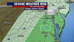 Showers, severe thunderstorms possible Wednesday across DC region