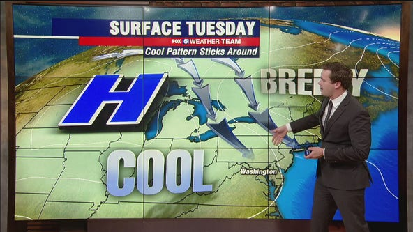 Sunny, cool Tuesday with passing afternoon shower possible