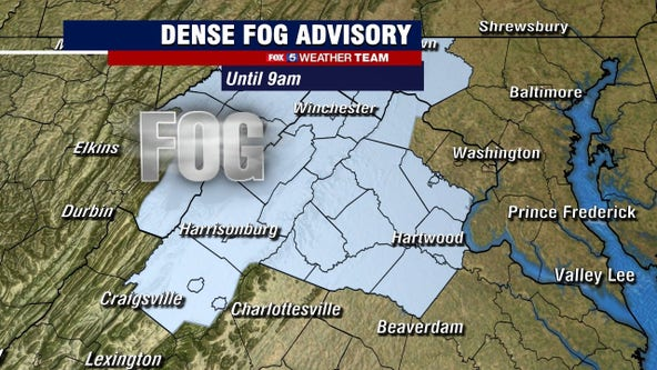 Dense Fog Advisory Monday morning; afternoon sun and clouds with warm temperatures in the 70s