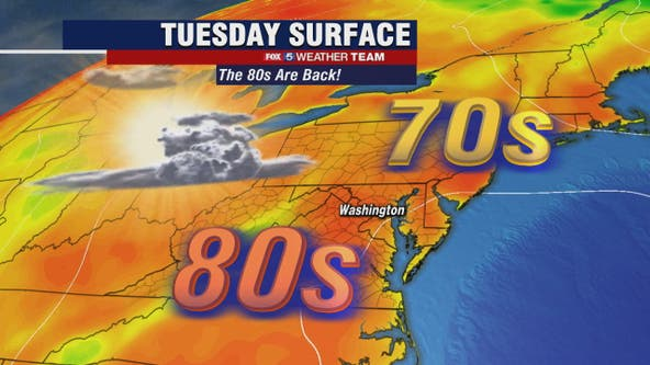 Warm Tuesday with highs in the 80s; heat wave on the way